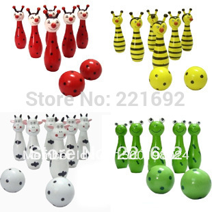 4 Desing Cheap Cute Wooden Animal Style Bowling Toy Bowling Balls Game Baby Intellectual Toys Children Gift(China (Mainland))