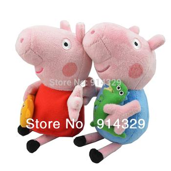 25CM Peppa pig with Teddy Bear George pig with Dinosaur Plush Toys Anime Baby dolls Kids Children Birthday Gifts Brinquedos 2pcs