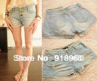 New Sale summer lace shorts Women's hot pants/fashion tassel waist lace cuffs hole design Ladies' low waist Denim Shorts/WtQ
