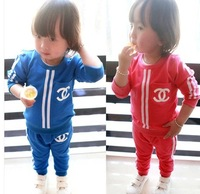 2014 New spring/Autumn  Baby Korean sports suit Boys girls cotton brand clothing Children's long-sleeved suit set Retail