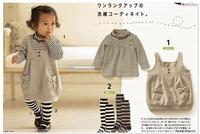 HOT Sale!Retain,1Set!Baby suit/3Pcs(Striped t-shirt+grey strap dress+black&white striped socks)kids clothing set with 3 sizes