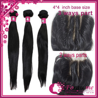brazilian hair straight middle part or free part lace closure with bundles virgin hair 1 closure (3.5*4 ) and 3 bundle hair weft