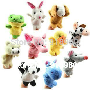 Free Shipping 9 pcs/lot, Baby Plush Toy/ Finger Puppets/Tell Story Props(10 animal group) Animal Doll /Kids Toys /Children Gift