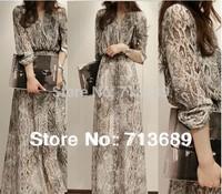 Free shipping 2014 high quality two-piece design chiffon long dress full serpentine pattern full print chiffon dress
