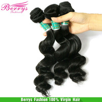 "Berrys Virgin Hair Product Brazilian Virgin Hair Loose Wave More Wave Hair Extension3pcs/lot(12""-28"")Hair Weaves Cheap Price"
