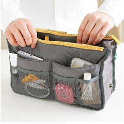 New Korea Style Dual Zipper mp3 phone cosmetic storage organizer nylon bag in bag handbag girl women HK-02(China (Mainland))