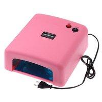 36W 220-240V Free Shipping Pink UV Lamp  Gel Curing Nail Art (EU Plug) with 4pcs 365nm UV Bulb