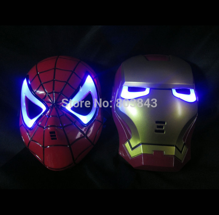 LED Glowing Light Iron Man Spider Man Masks Hero Face Guard PVC Masquerade Party Halloween Birthday(China (Mainland))