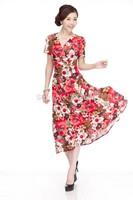 Good quality soft and comfortable plus size one-piece dress milk silk short-sleeve dress V-neck long design summer dress