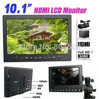 "1366*768 HD 10.1"" on-camera 5D II LCD Monitor  W/ SDI/HDMI/YPBPR/AV/VGA input SDI DSLR video monitor 10.1 inch for BMPC"