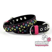 Wholesale Dog Pet Collar Lead Fashion Ribbon Design Dog Collar Leash PVC Nylon Leather  Brown Black Pet Product MOQ 12pcs/lot