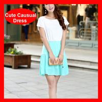 2014 Hot Selling Summer Short Sleeve Chiffon Patchwork Dress 3 Colors 281