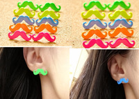 ZH0019 IVY Store Korean cute punk candy-colored mustache earrings Mix Colour (Min Mix Order $10)