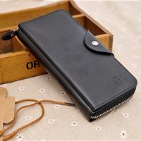 Vintage business Men Wallet Fashion Faux Leather PU long zipper purse hasp clutch bag SFW009 promotion free shipping
