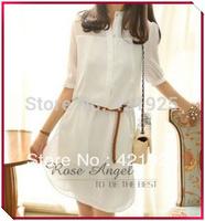 2014 Female Women's summer loose patchwork chiffon short-sleeve dress autumn summer dress with belt Autumn dresses plus size