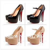 Free shipping Red Sole Stiletto Shoes Top Design High Stiletto Heel Ankle Strap Red Bottom Shoes Closed-toes High Heel Shoes