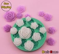 Free shipping 9 Roses chocolate silicone cake decorating fondant mold tool