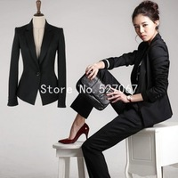 Hot sale Winter Fashion Office Women long sleeve slim Skirt Suit,women Business Suits jacket Plus Black size S-XXXL
