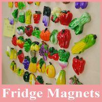 Hot Sell 10 pcs of Fruit Fridge Magnet, 3D Fridge Magnet for Home Decoration, Vegetables Fridge Magnets, Fruit Magnets Wholesale