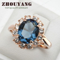 ZYR189 Blue Crystal Ring 18K K Gold Plated Made with Genuine Austrian Crystals Full Sizes Wholesale
