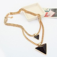 Black Layered Resin Triangle Gem Gold Collar Choker Statement Necklaces & Pendants 2014 New Fashion Jewelry Women Wholesale N18