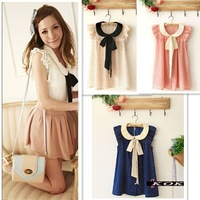 New Arrive Summer Girl Lady's sarafan Korean Style Pink/Beige/blue Polka Dot Ruffled Bow Cute Chiffon Shirts For Women 2013/1051