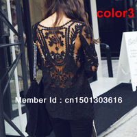 Black/white Dress Sweet Semi Sexy Sheer Long  Sleeve Embroidery Floral Lace XL Crochet Tee Top T shirt Vintage print dress
