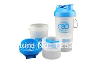 Fitnessmad Multifunctional Protein Powder Shaker Bottle 3 in1 BPA FREE 500ml/17oz free shipping