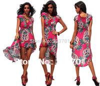 2014 New Arrival High Low Asymmetrical Dresses For Summer V Neck Short Sleeve Bohemian Beach Dress