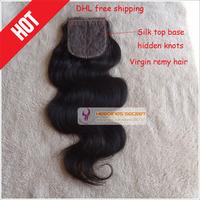 6A Silk base closure peruvian virgin remy human hair ,lace closure hidden knots body wave natural color DHL free shipping
