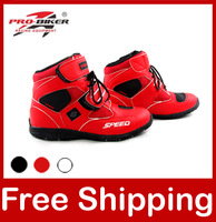 Motorcycle Boots Pro biker SPEED Bikers Moto Racing Boots Motocross Motorbike Shoes A005 Black/White/Red Free Shipping