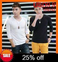 Tight/Drop shipping New style fashion men's shirts,cotton men tshirts with long sleeve,fashion v-neck t shirt men