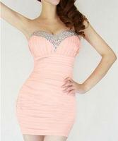 Free shipping Rhinestone Tee Dress dress package hip was thin nightclub sexy tight dress Y962