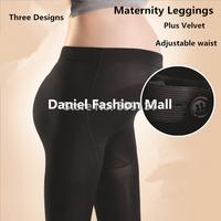 Spring, Autumn, Winter Maternity Clothes  Pregnant Women's Plus Size Slim Solid Color Fleece Black Leggings B438