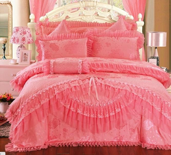 Luxuriöse seide bettbezug bettwäsche, satin bestickt jacquard-hochzeit heimtextilien, romantische rosa spitze prinzessin rose bettwäschesätze