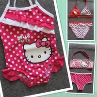 Retail Girls Baby Kids Kitty Swimsuit Swimming Costume Swimwear 1-8Y Toddler One-Piece BBY-145