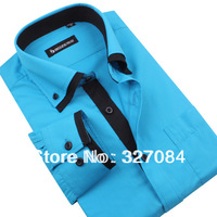 [SL12] Brand Double Collar Dress Shirts,Men's Long Sleeve Business Casual Shirt Slim Fit Blue Lake High quality New Fashion