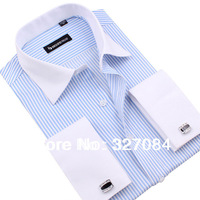 [FS11] 2013 New Men's Long Sleeve Blue and White Business Striped Shirts / Hot sale Men 's clothes  Big Bize xxxl Free shipping