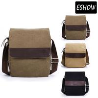 ESHOW Men Shoulder Bag Casual Small Satchel Bag Men Bag Canvas Messenger Bag Khaki Brown Black BFK010401