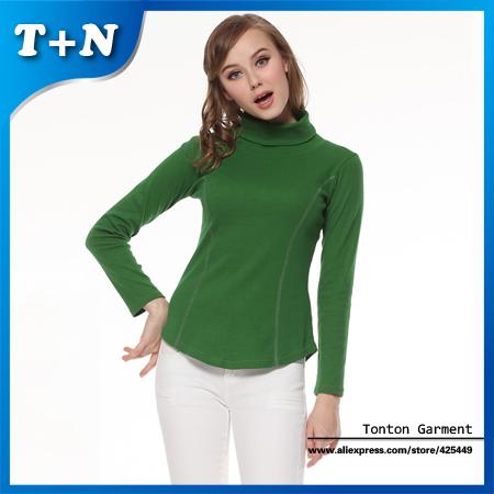 High Collar Casual Women Clothing, Slim Long Sleeve Winter Dress Shirt