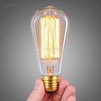 1PC Free Shipping 40W 60W Classical Vintage Retro Edison Light Bulb Tungsten Filament 110V 220V Antiqued Incandescent Bulb