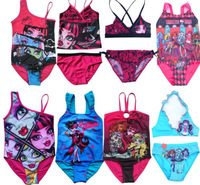 Retail 2014New Free Shipping 1Pcs Girls Kid Monster High School Swimsuit 5-14Y Tankini Swimwear Bathing Suit New Style Beachwear