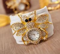 Free Ship New Fashion Gift Items Wristwatches Leather Strap Quartz Watch Women Rhinestone Watches Clock Women Dress Watches Bee