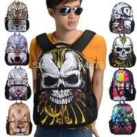 huge zipper skull men school backpack bag, teenager's rucksack bag with ipad & iphone pocket, BBP104