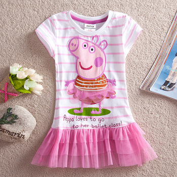 Peppa Pig Girls Short Sleeve Tunic Peppa Pig Clothing Lace Peppa Pig Dresses One-piece With Embroidery FreeShipping