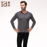 2014 New Men Modal Printing V-neck Underwear Set Thin Business Thermal Underwear For Men Long Sleeve Men Under Shirts+Underpant