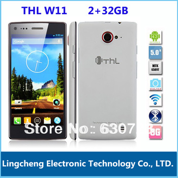 Original ThL W11 Quad Core MTK6589T 1.5GHz Android 4.2 Mobile Phone 5.0 Inch FHD IPS 1920 1080P 2+32GB Front/Back 13.0MP/13.0MP