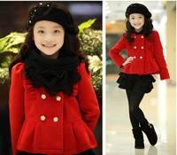2014Fashion children's coat Short Top Coat Red Woolen girl jacket Fancy Warm children clothing Long Sleeve Winter KC1305