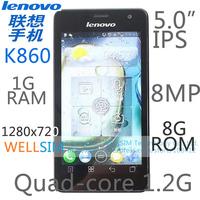 Original Lenovo K860 Multi language Mobile phone 5.0IPS 1280x720 Quad-core1.4G 1GB RAM 8G ROM  Android 4.0 8MP GSM