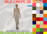 Silk crepe de chine 12m/m/Width-114cm/100% natural mulberry silk fabric/High quality satin fabrics/39 Colors in stock